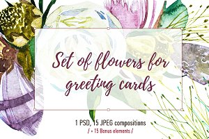 Set of flowers for wedding cards
