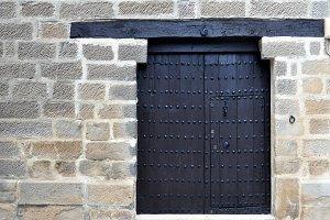 antique door with blacksmith's nails