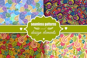 Romantic seamless patterns