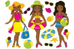 Vector African American Beach Girls