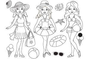 Vector Beach Girls Set