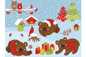 Vector Christmas Bears Set
