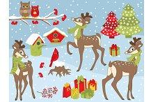 Vector Christmas Deers Set