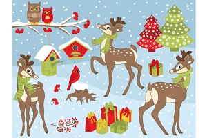 Vector Christmas Deers Set