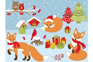 Vector Christmas Fox Set