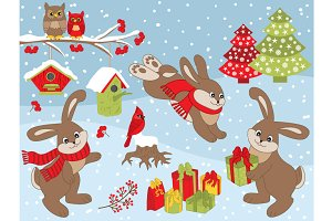 Vector Winter Rabbits Set