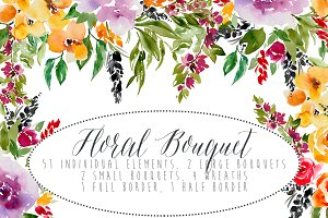 Floral Bouquet Watercolor Elements