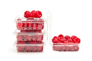 Red raspberries in containers