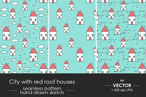 Red roof houses pattern