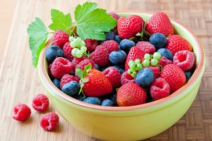 Bowl with fresh summer berries