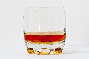 Glass of straight bourbon whiskey