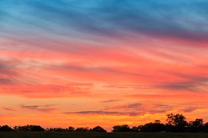 Dramatic sunset sky on countryside