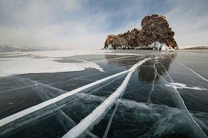 Winter landscape frozen Baikal lake