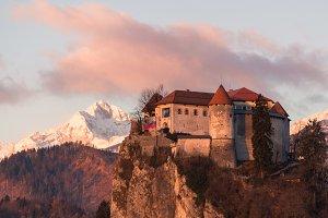 Bled castle at sunrise