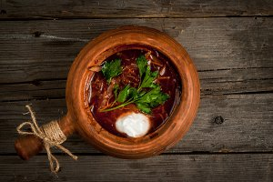 Traditional Ukrainian soup - borscht