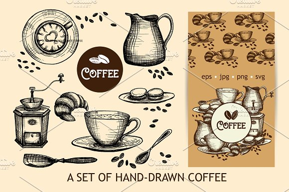 Sketch Coffee Set in Illustrations