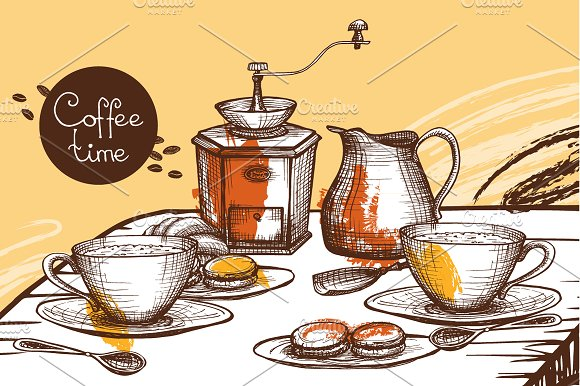 Sketch Coffee Set in Illustrations - product preview 1