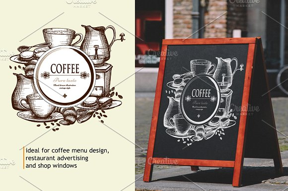 Sketch Coffee Set in Illustrations - product preview 2