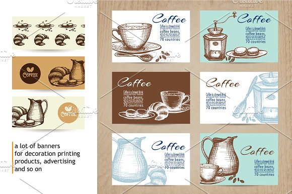 Sketch Coffee Set in Illustrations - product preview 3