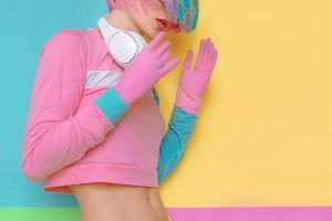 Vanilla color. Playful girl DJ.