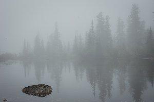 Beautiful misty morning in lake