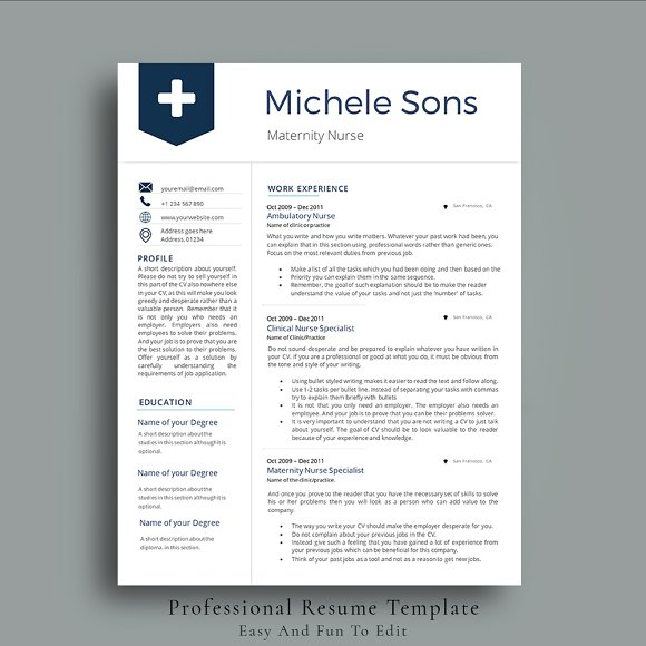Professional Nurse Resume Template ~ Resume Templates ~ Creative Market