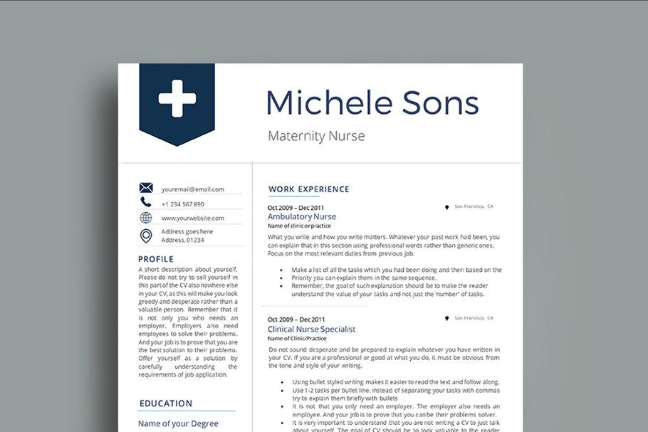 Professional Nurse Resume Template Templates Creative Market