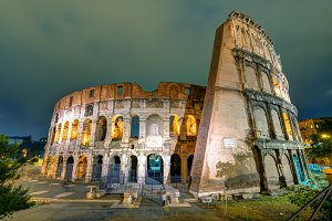 Colosseum at night in Rome