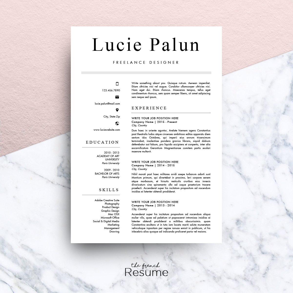 Modern Cv Ms Word Lucie Resume Templates Creative Market