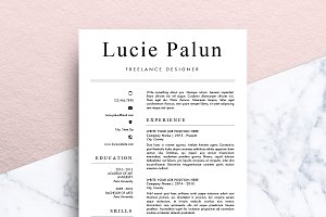modern cv ms word lucie resume templates creative market