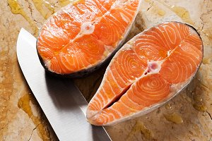 salmon steak on natural marble
