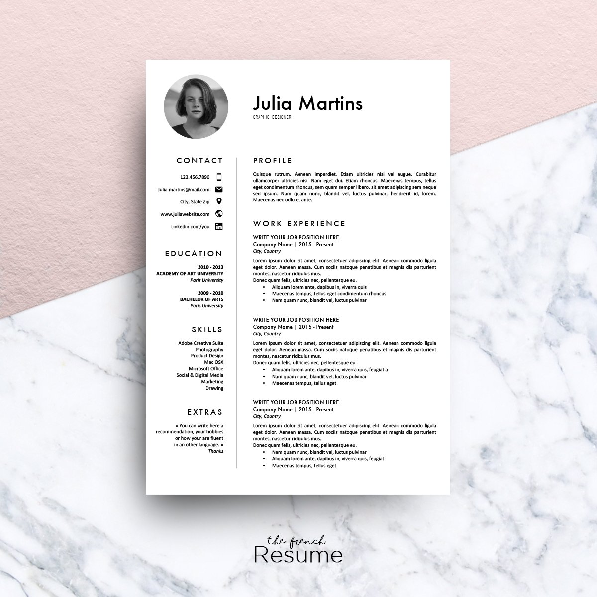 resume template ms word julia resume templates creative market - Resume Template On Microsoft Word