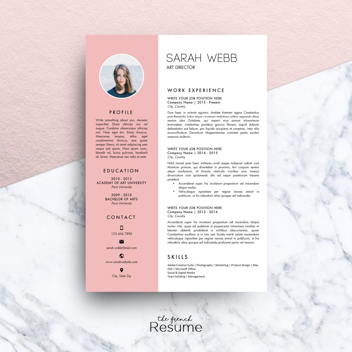 resume template ms word sarah resume templates creative market - Microsoft Resume Template