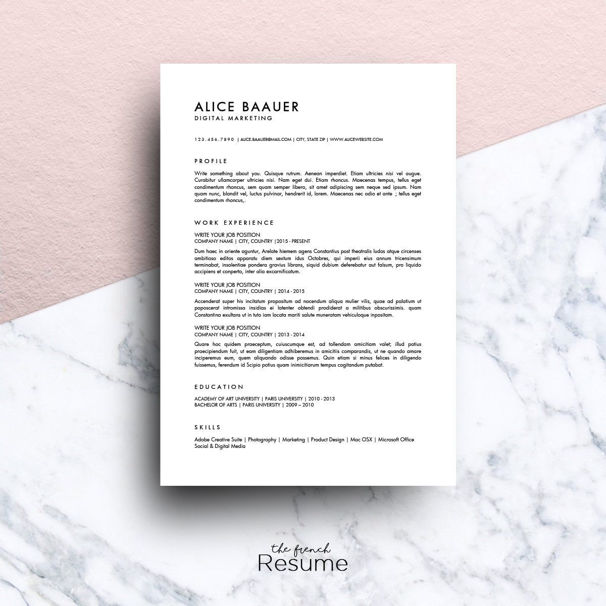 Minimalist Resume (MS Word) | Alice ~ Resume Templates ~ Creative Market