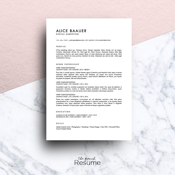 minimalist resume ms word alice resume templates creative market