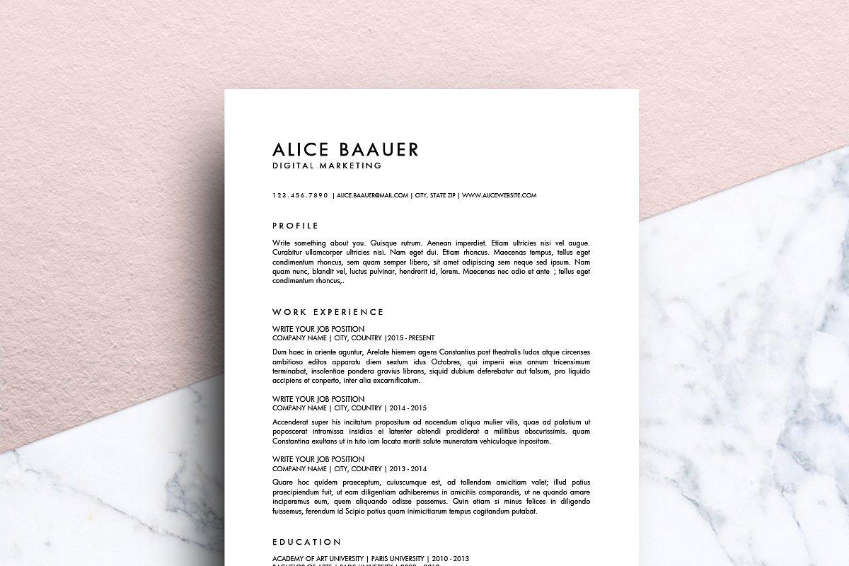 Minimalist Resume Ms Word Alice
