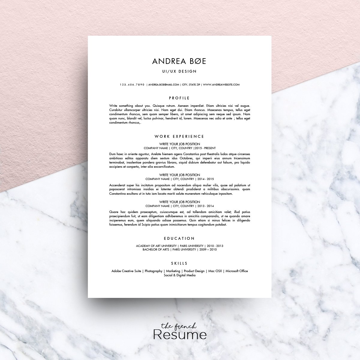 minimalist resume ms word andrea resume templates creative market - Minimalist Resume Template