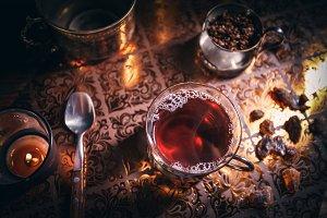 Still life with black tea