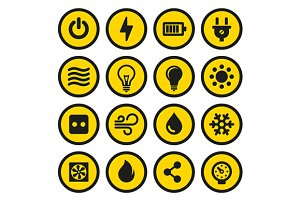 Yellow Electric Icons Set