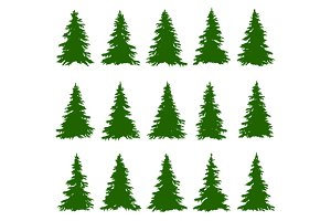 Conifer Trees Set and Backgrounds