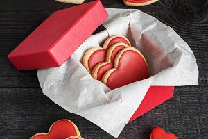 Gift box with red cookies