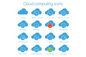 Cloud computing. 16 icons. Vector