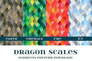 Dragon Scales Seamless Patterns