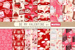 BE MY VALENTINE digital paper