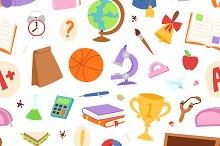 School icons seamless pattern