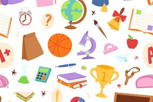 School icons seamless pattern
