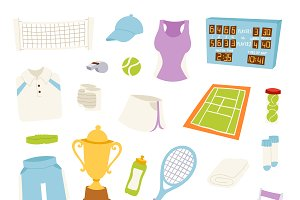 Vector athlete stylized tennis icons