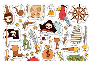 Vector pirate stickers set