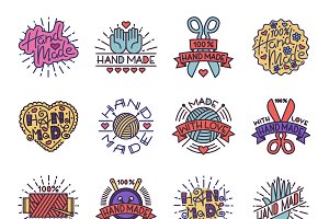 Handmade needlework badges vector
