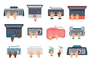 Users hands on keyboard vector